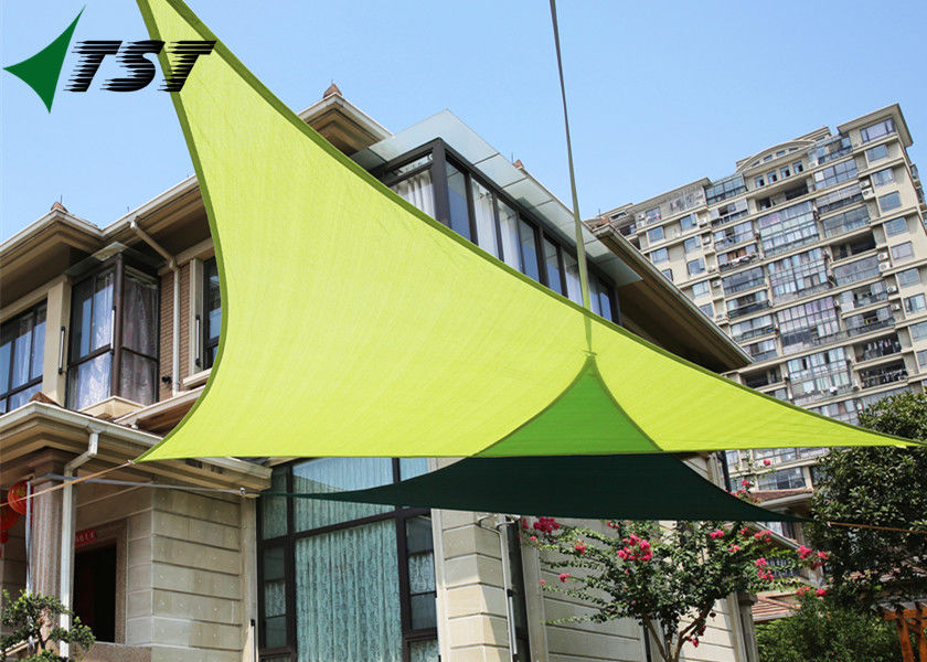 Green Color Polyester Outdoor Shade Sails , Canvas Shade Canopy 160gsm-350gsm Weight